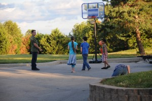 First Faith Church Game Night out doors hoops - game of horse
